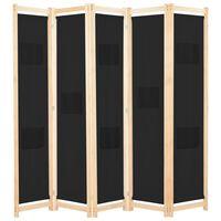 vidaXL Параван за стая, 5 панела, черен, 200x170x4 cм, текстил