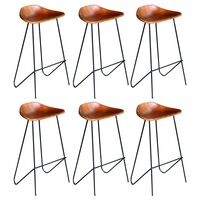 vidaXL Бар столове, 6 бр, естествена кожа, кафяви