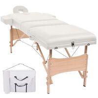 vidaXL Сгъваема масажна кушетка с 3 зони, 10 см плътен пълнеж, бяла
