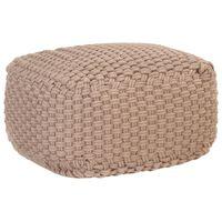 vidaXL Ръчно плетен пуф, кафяв, 50x50x30 см, памук