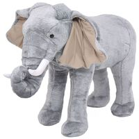 vidaXL Плюшен слон за яздене, сив, XXL