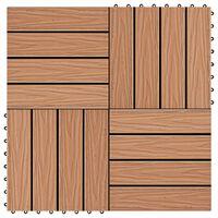 vidaXL WPC декинг плочки релефни, 11 бр, 30x30 см 1 кв.м. тиков цвят