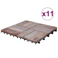 vidaXL Декинг плочки, 33 бр, 30х30 см, регенерирано дърво масив