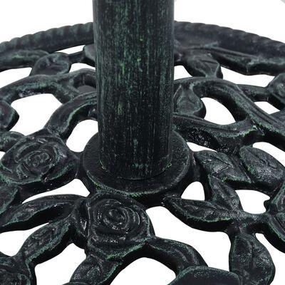 vidaXL Поставка за чадър, зелена, 9 кг, 40 см, чугун
