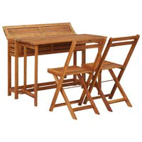 vidaXL Балконска маса плантер с 2 бистро стола, акация масив