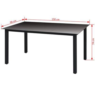 vidaXL Градинска маса, черна, 150x90x74 см, алуминий и стъкло
