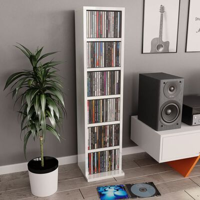 vidaXL CD шкаф, бял гланц, 21x20x88 см, ПДЧ