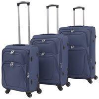 vidaXL Комплект от 3 броя меки куфари на колелца, тъмносин
