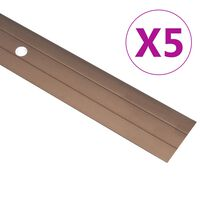vidaXL Подови профили, 5 бр, алуминий, 100 см, кафяви