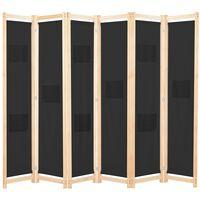 vidaXL Параван за стая, 6 панела, черен, 240х170х4 cм, текстил