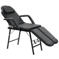 vidaXL Преносим козметичен стол, изкуствена кожа, 185x78x76 см, черен