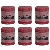 Bolsius Свещи рустик колони, 6 бр, 80x68 мм, виненочервени