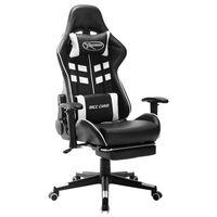 vidaXL Геймърски стол с подложка за крака черно и бяло изкуствена кожа