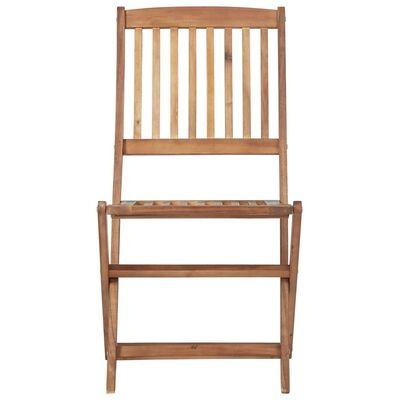 vidaXL Сгъваеми градински столове, 6 бр, възглавници, акация масив