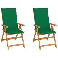 vidaXL Градински столове, 2 бр, зелени възглавници, тиково дърво масив