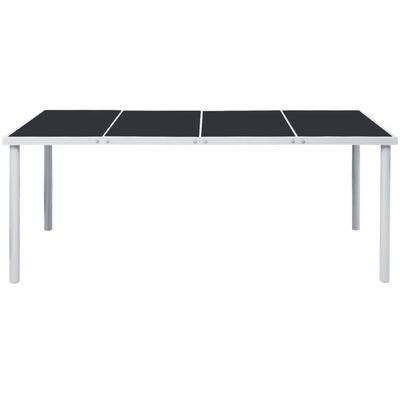 vidaXL Градинска маса, 190x90x74 см, черна, стомана