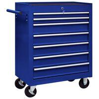vidaXL Количка за инструменти със 7 чекмеджета, синя