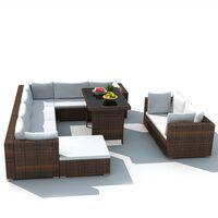 vidaXL Градински комплект с възглавници, 10 части, кафяв полиратан