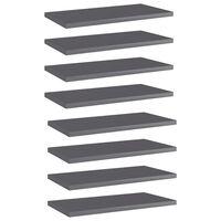 vidaXL Рафтове за етажерка, 8 бр, сив гланц, 40x20x1,5 см, ПДЧ