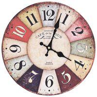 vidaXL Винтидж стенен часовник, цветен, 30 см