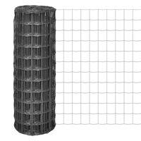 vidaXL Евромрежа, стомана, 25x1,5 м, сива