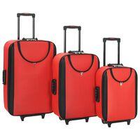 vidaXL Меки куфари на колелца, 3 бр, червени, плат Оксфорд