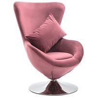 vidaXL Фотьойл с яйцевидна форма и възглавница, розово кадифе