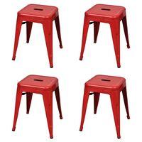 vidaXL Стифиращи табуретки, 4 бр, червени, стомана