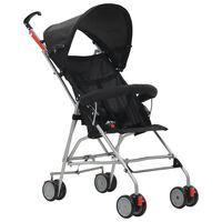 vidaXL Сгъваема детска количка тип бъги, черна, стомана