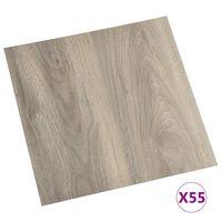 vidaXL Самозалепващи подови дъски, 55 бр, PVC, 5,11 м², таупе