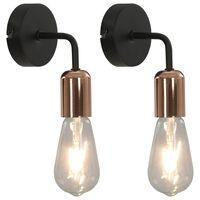 vidaXL Стенни лампи с крушки филамент, 2 бр, 2 W, черно и мед, E27