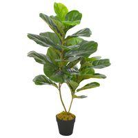 vidaXL Изкуствено растение фикус лирата със саксия, зелено, 90 см