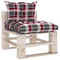 vidaXL Градински палетен среден диван с възглавници, борово дърво