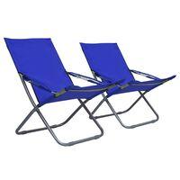 vidaXL Сгъваеми плажни столове, 2 бр, текстил, сини