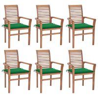 vidaXL Трапезни столове, 6 бр, със зелени възглавници, тик масив