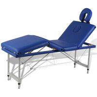 Алуминиева масажна кушетка с 4 зони, цвят: син