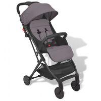 vidaXL Детска сгъваема количка Pocket Buggy, сива, 89x47,5x104 cм