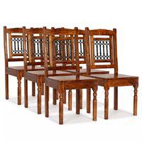 vidaXL Трапезни столове, 6 бр, масивно дърво с класически финиш шишам