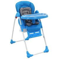 vidaXL Високо бебешко столче за хранене, синьо и сиво