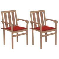vidaXL Градински столове, 2 бр, червени възглавници, тик масив