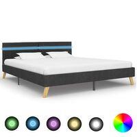 vidaXL Рамка за легло с LED, тъмносива, плат, 180x200 см