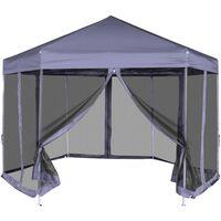 vidaXL Шестоъгълна шатра с 6 странични стени, тъмносиня, 3.6x3.1м