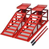 vidaXL Рампи за ремонт на коли, 2 бр, червени, стомана