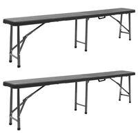 vidaXL Сгъваеми градински пейки, 2 бр, 180 см, HDPE, черни