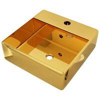 vidaXL Мивка с преливник, 41x41x15 см, керамична, златиста