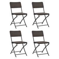 vidaXL Сгъваеми градински столове, 4 бр, HDPE и стомана, кафяви