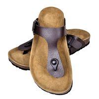 vidaXL Дамски чехли от био корк с лента м/у пръстите кафяви размер 38