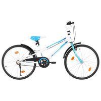 vidaXL Детски велосипед, 24 цола, синьо и бяло
