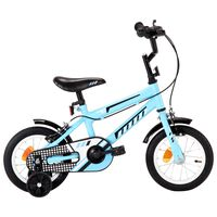 vidaXL Детски велосипед, 12 цола, черно и синьо