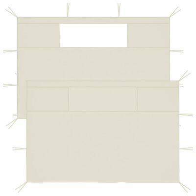 vidaXL Стени за шатри с прозорци, 2 бр, кремави